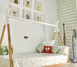 Wood Kids Tent Cum Bed Frame