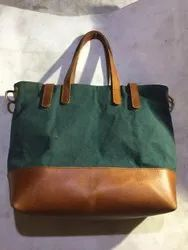 Rectangle Brown Leather Tote Bag