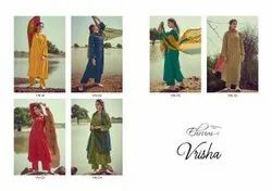 Vrisha By Varsha Fashion Poly Pashmina Dobby Print Heavy Salwar Suits