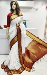 Party Wear Silk Gadwal Saree, 6.3 m (with blouse piece)