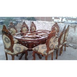 Wooden Brown Antique Glass Top 8 Seater Dining Table Set