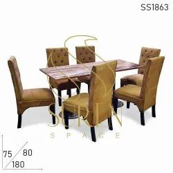 Restaurant Canvas & Leather Dining Set, Seating Capacity: 6, Size: 180 X 90 X 75 Cm
