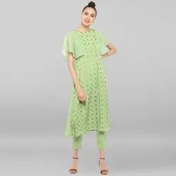 Janasya Women's Light Green Poly Crepe Kurta With Pant(SET132)