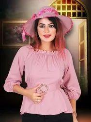 Pink Party Wear Women Fancy Top, Size: Free Size