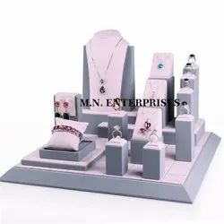 Plastic Jewellery Display Set, Outer Material: Suede