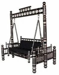 Sankheda Handicraft Black And Silver Wooden Swing With Stand