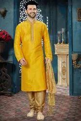 2-Piece Suit Yellow (Kurta) Men Party Wear Churidar Suits
