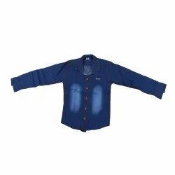 Plain Full Sleeves Kids Denim Shirt