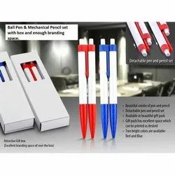 Red And Blue Ball Pen & Mechanical Pencil Set, For Gifting And Writing
