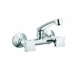 Wall Mounted CP Double Tap Sink Mixer Tap