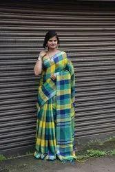 Ladies Linen Check Saree
