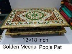 12x18 Inch Golden Meena Pooja Pat