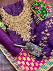Multicolor Women Satin Silk Dress Material, Size: Free