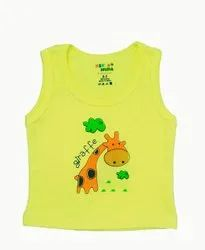 KINDER CHOICE YELLOW ONE COLOR PRINTED VEST FOR BOYS & GIRLS