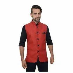 Party Plain Mens Linen Silk Waistcoat, Size: M-XXL