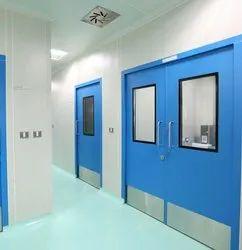 Iron Powder Coated Clean Room Metal Doors, For Hospital, Single,Double Door