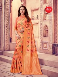 Apple Sarees Printed Party Wear Silk Cotton Saree, With Blouse, 6.3 m