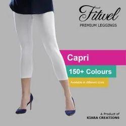 Cotton Lycra 4 Way Plain Fitwel Ladies Capri Leggings, Size: Free Size