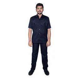 Dark Blue Plain Security Safari Suit