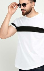 Half Sleeve Men Round Neck Cotton T-Shirt, Size: S-XL