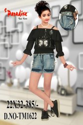 Casual Wear Girl Kids Black Top With Shorts