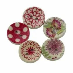 Round Plastic Printed Button, For Garments, Packaging Type: Packet