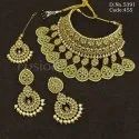Traditional Mehendi Polish Bridal Choker Necklace Set