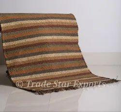 Handmade Rug Carpet Indian 2x3 Jute Wool Rug Throw Hand Wooven Kilim Throw Rug