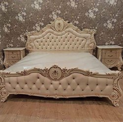 Oak Wood White Indian Wooden Handicraft Royal Bedroom Set, For Home, Size: Queen