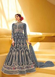Trisa Chiffon Ladies Party Wear Anarkali Suit, Machine wash