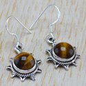 925 Sterling Silver Nice Designer Jewelry Tiger Eye Earring WE-6263