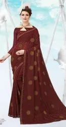 Maroon color deigner Georgette chiffon saree