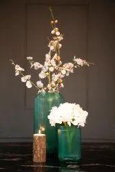 Green Matte Jewel Cut Glass Vase, Shape: Flat
