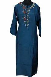Cotton Ankle Length Blue Shade Kurti, Size: 42