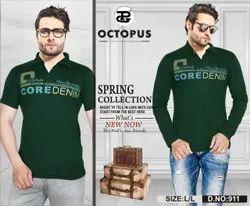 Cotton Printed Dark Green Mens T-Shirt, Size: Large