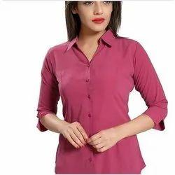 Cotton Ladies Pink Plain Shirts, 150 Gsm