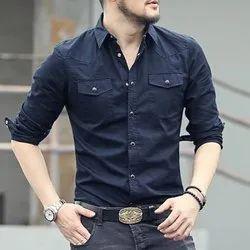 Cotton Plain Men Denim Shirt, Size: 40