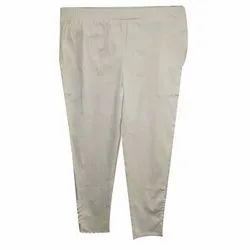 Dimage Plain Ladies White Flex Cotton Pant