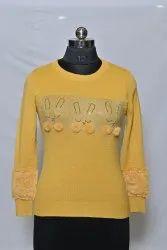Woolen Round Neck Yellow Fancy Top