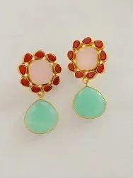 Handmade earrings, gold brass earrings, gemstone earrings, red garnet rose quartz aqua onyx earrings
