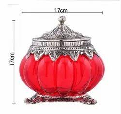 Glass and metal Cookie jar, Packaging Type: Individual, Capacity: 350 Ml