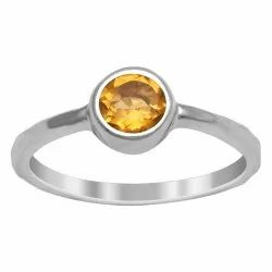 Solitaire  0.85 Cts Citrine Gemstone 925 Sterling Silver Stackable Ring