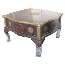 Ethnic India Wooden 4 Drawer Brass Fitted Coffee Table, For Home, Size: 75 X 75 X 45 Cm