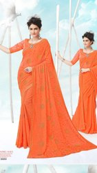 Orange Color Designer Chiffon Saree