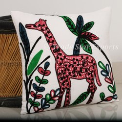 Hand Embroidered Suzani Cushion Cover 16X16 Inch Cotton Throw Pillow Cover Handmade Cushion Case