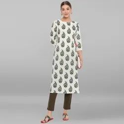 Janasya Women''s Off White Pure Cotton Kurta(JNE3481)