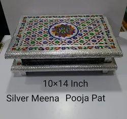 10x14 Inch Silver Meena Pooja Pat