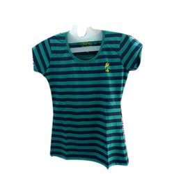Riona Cotton Ladies Half Sleeves Striped Top, Size: S to 5XL
