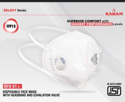 KARAM DISPOSABLE Face Mask With Ear Loop Exhalation Value RFH01, Certification: Isi