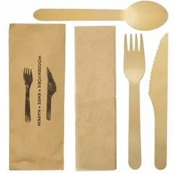 Natural Disposable Birch Wood Cutlery Set / Spoon - Fork- Knife-Tissue, For take away, Size: 160mm